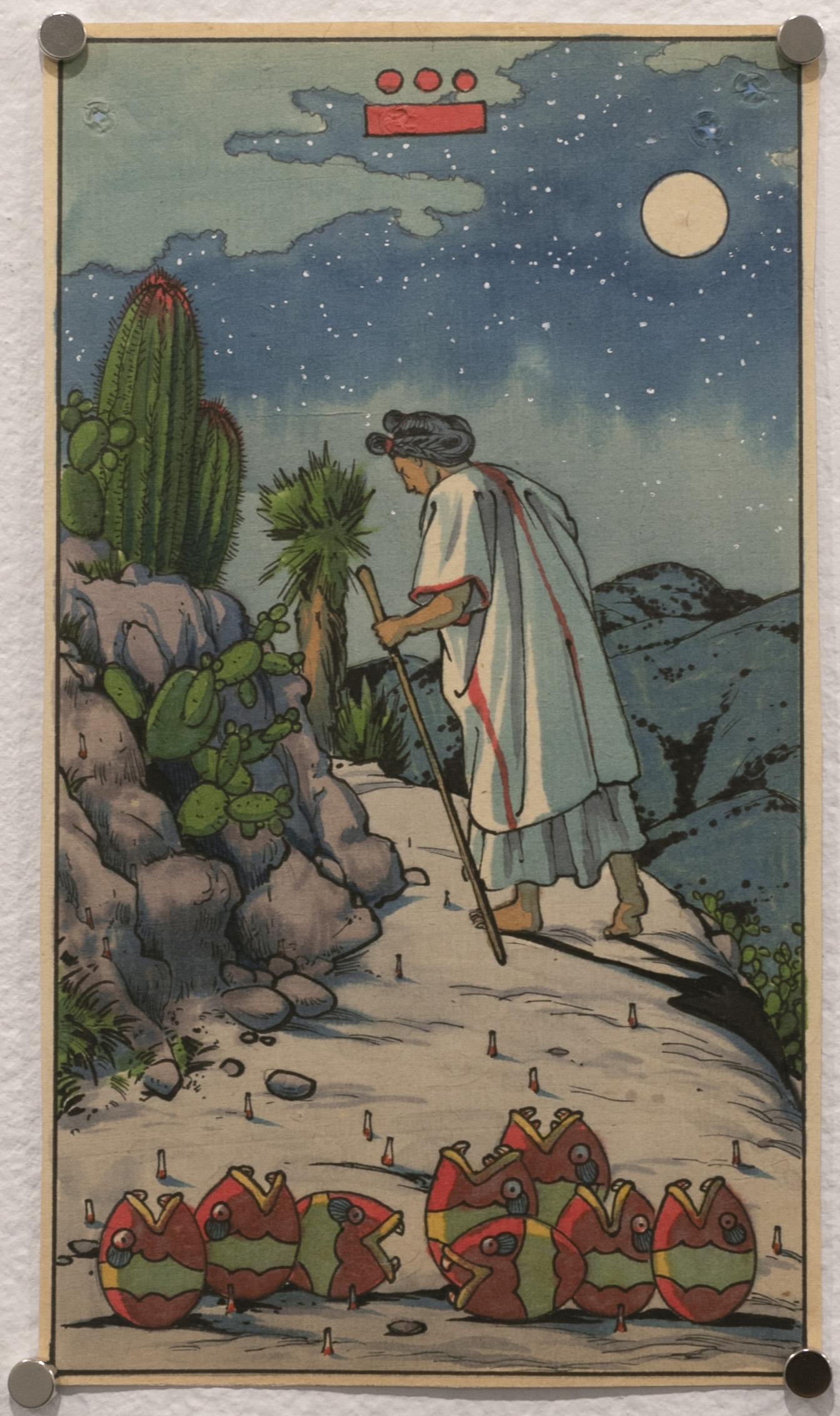 Chicuei Yollotl, Eight of Hearts (Tarot Mexicayotl)