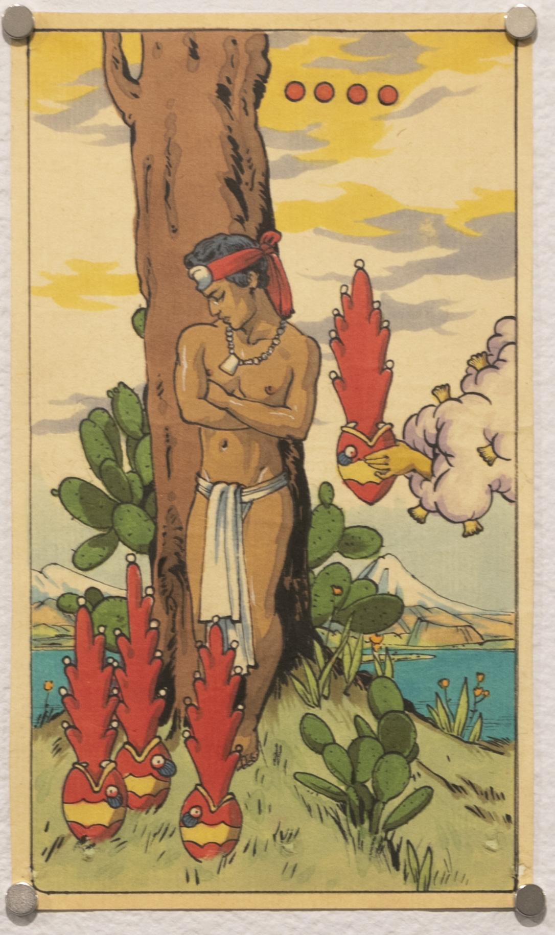 Nahui Yollotl, Four of Hearts (Tarot Mexicayotl)