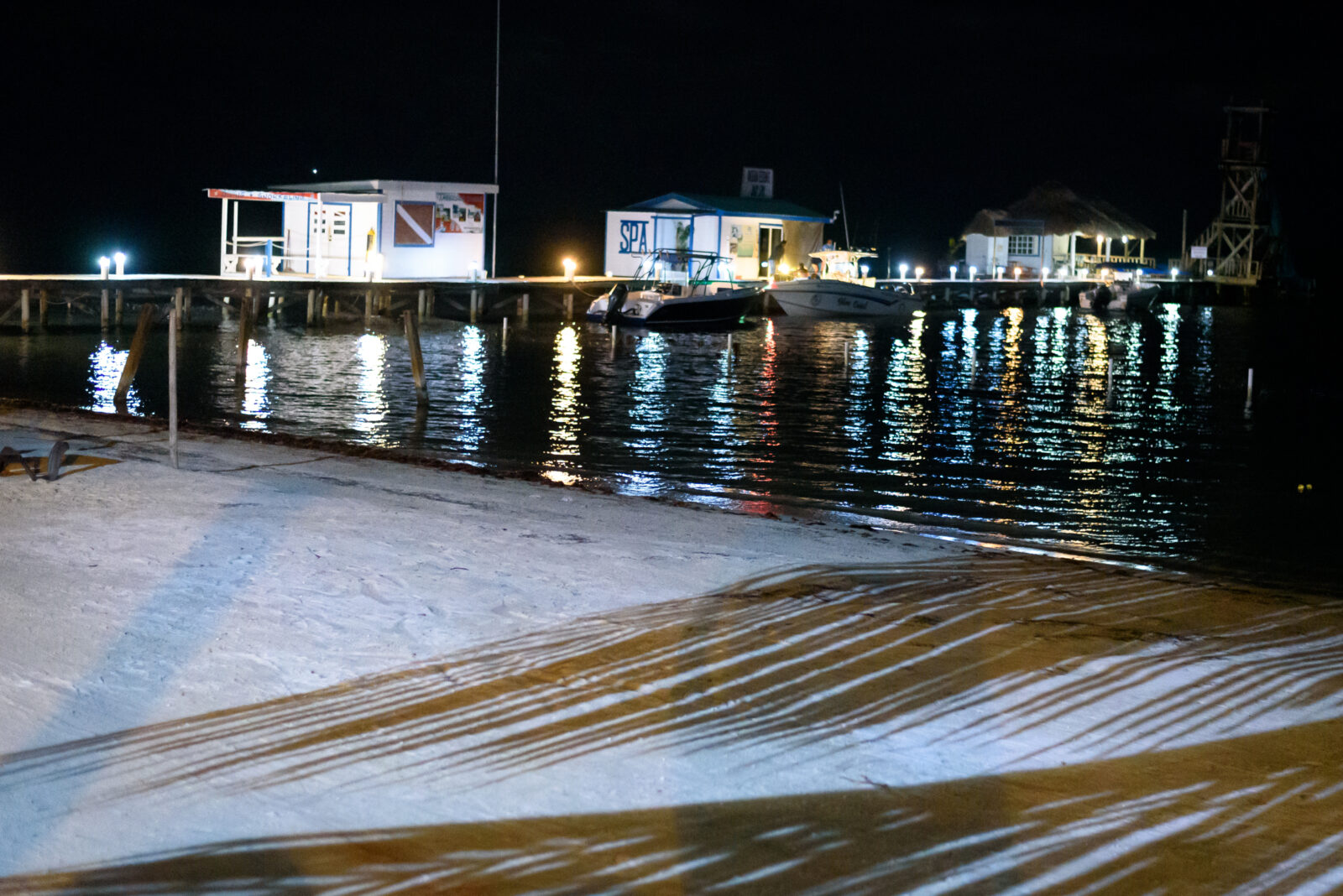 night view of beach and ocean pier
