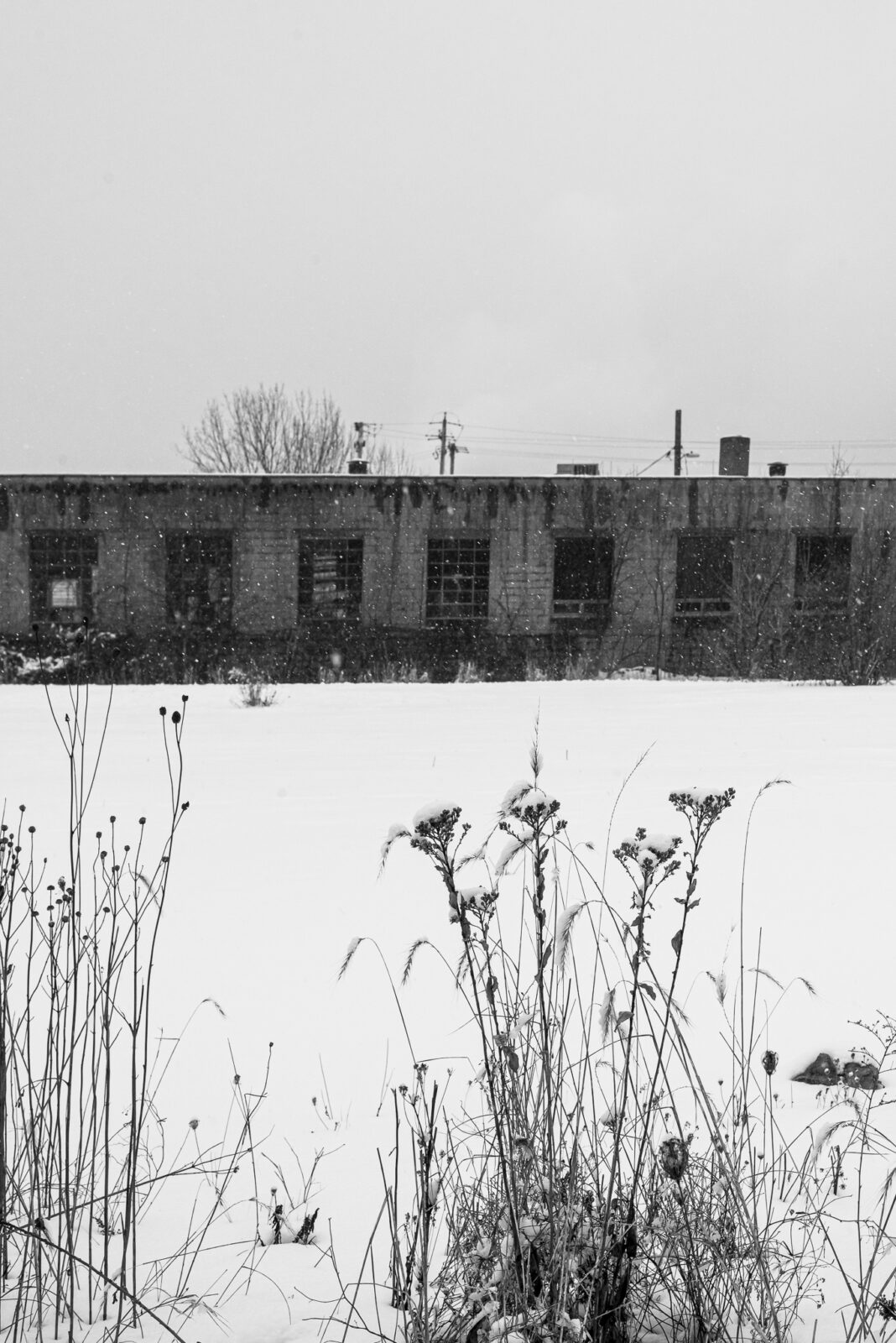black and white photograph of snowy landscape with a one story factory building in the background and grey sky